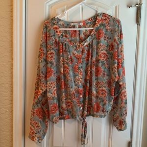Sheer Floral Flowy Blouse